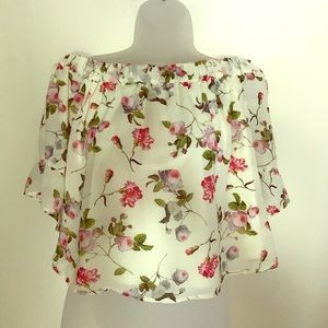 Floral Off the Shoulder Shirt from Express